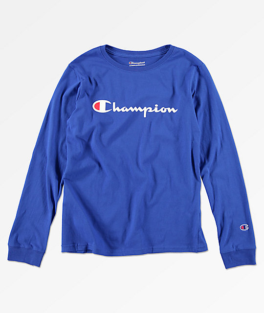 713d1ef2f Champion Boys Heritage Surf Blue Long Sleeve T-Shirt | Zumiez