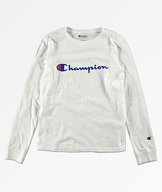 2485f38d Champion Boys Heritage White Long Sleeve T-Shirt | Zumiez