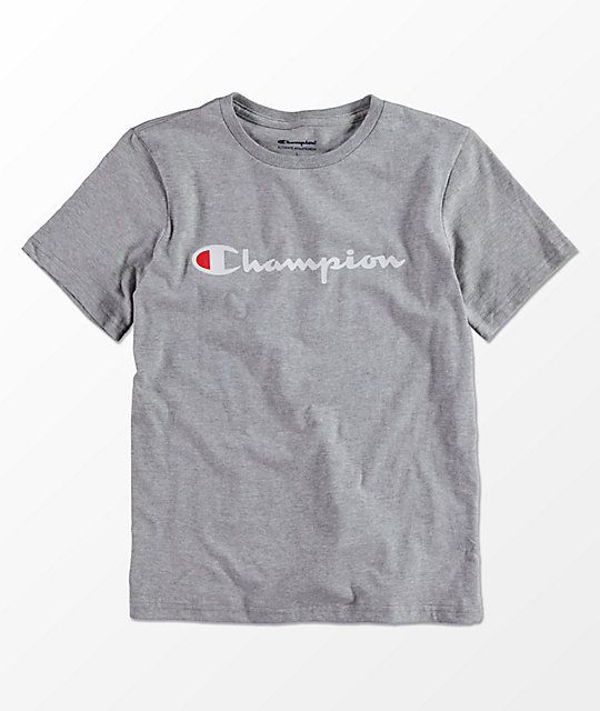 Champion Boys Horizontal Script Grey T-Shirt