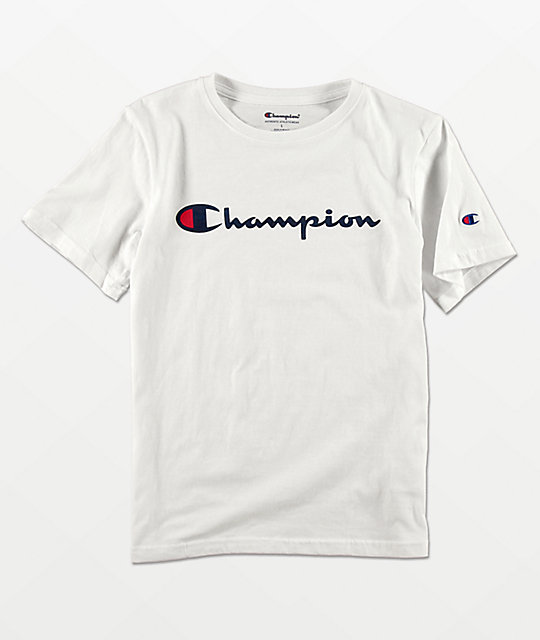 be29a5250c57 Champion Boys Logo Script White T-Shirt | Zumiez