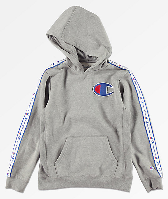 71231bea3 Champion Boys Side Taped Grey Hoodie | Zumiez
