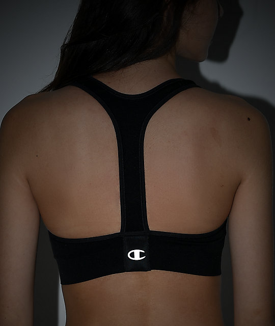 Champion C Logo Black Sports Bra