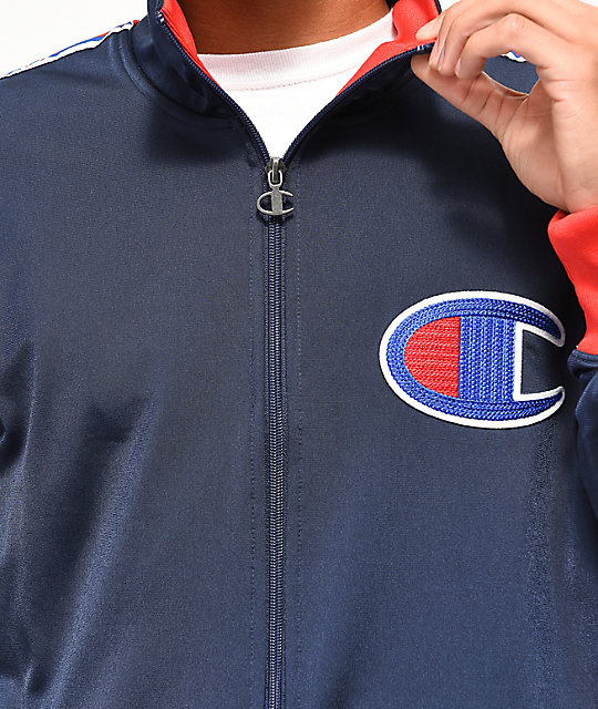 8bc1905a Champion C Logo Tape Blue & Red Track Jacket | Zumiez