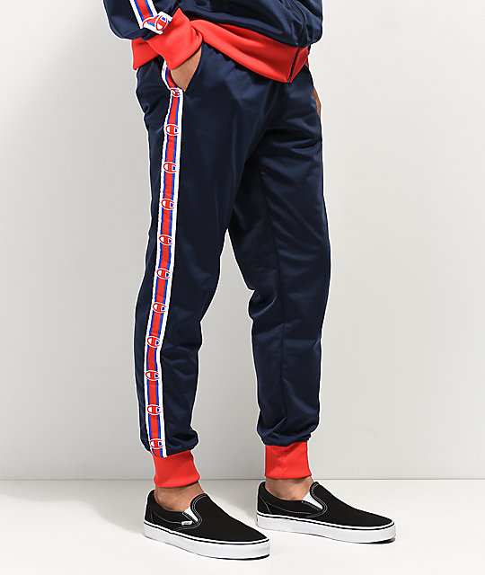 Champion C Logo Tape Blue & Red Track Pants