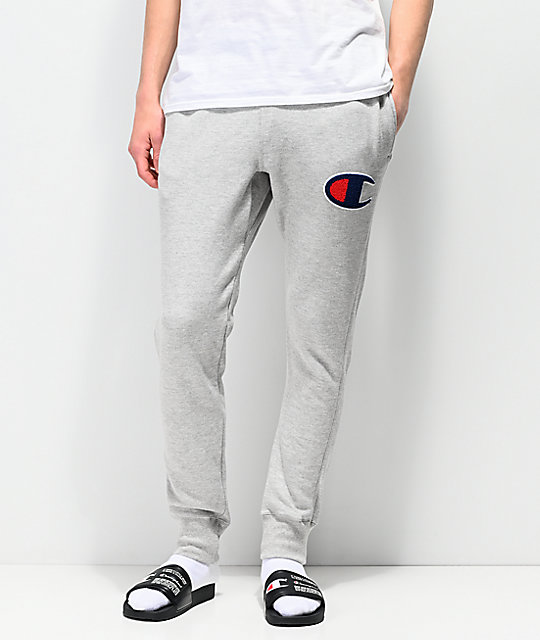 better price purchase newest online here Champion Chainstitch Seal Applique Oxford Grey Sweatpants
