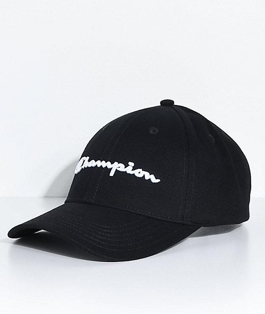 301063d7 Champion Classic Twill Black Strapback Hat