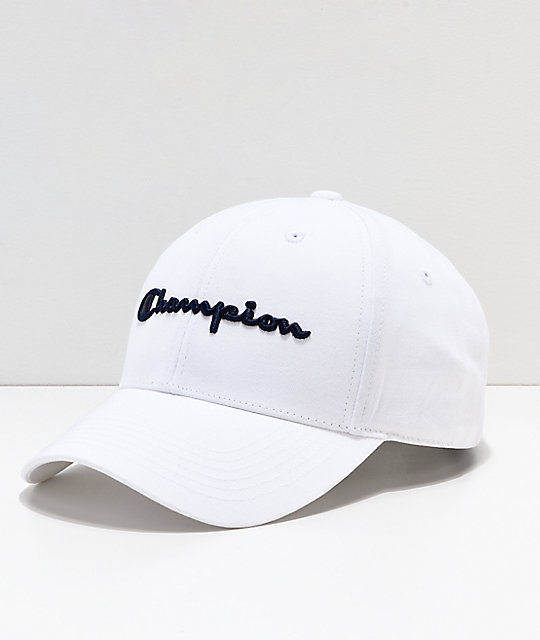 Champion Classic Twill White   Navy Script Strapback Hat  91bed5cd1bc