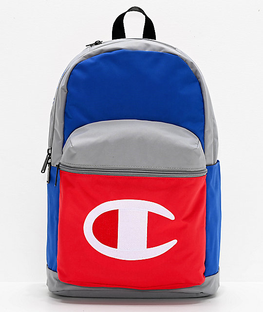 Champion Color Block mochila gris, azul y roja