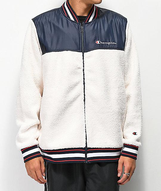 ba064cc90ee7 Champion Cream Sherpa Baseball Jacket