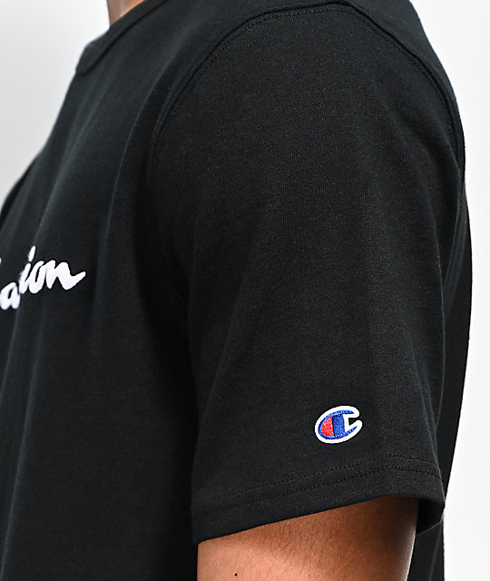 Champion Embroidered Heritage Script Black T-Shirt