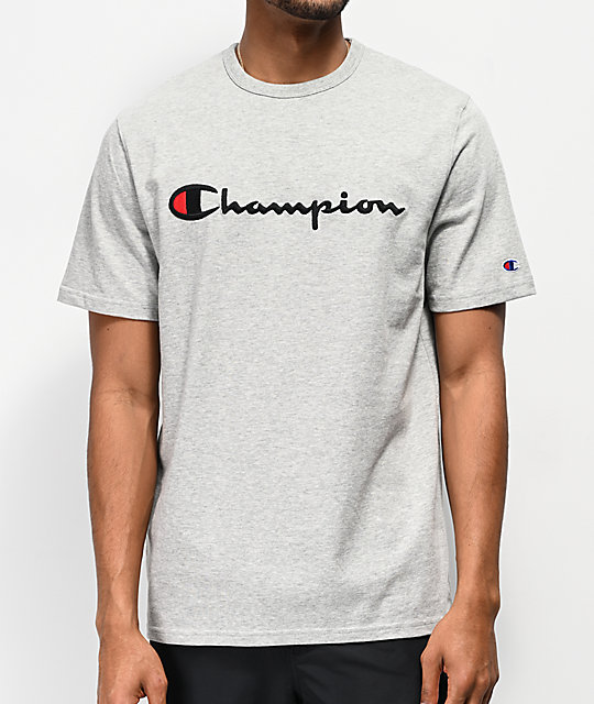 d41a2bf5852a Champion Embroidered Heritage Script Grey T-Shirt