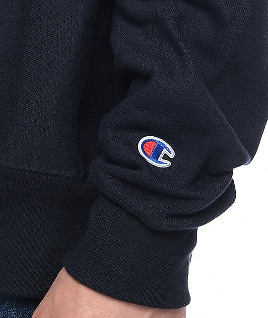 100% autentico f4e8c 61b40 Champion Felt Script Reverse Weave sudadera con cuello redondo en azul  marino