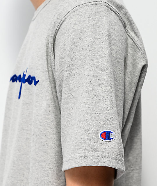 Champion Flock Script Grey & Blue T-Shirt