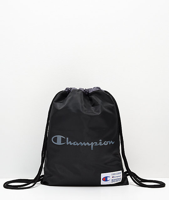 Champion Forever Double Sack Black Gym Cinch Bag