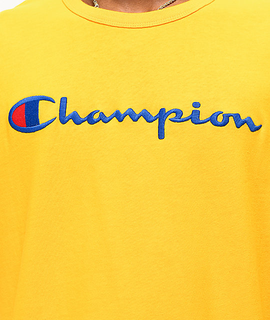 Champion Full Chest Emblem Gold Long Sleeve T-Shirt