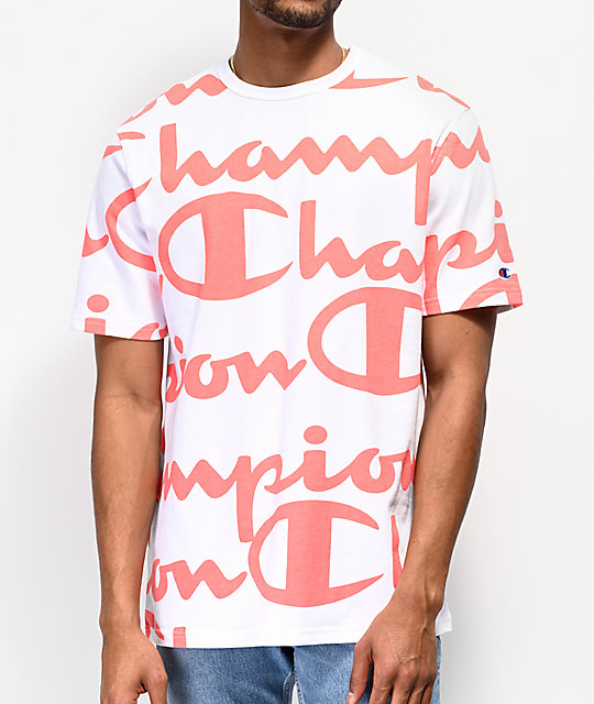 f1c4ba7aab31fd Champion Heritage Allover Script Coral   White T-Shirt