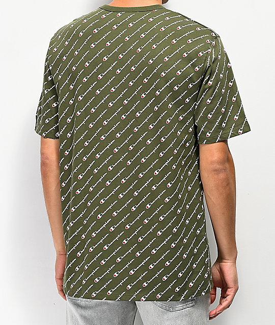 Champion Heritage Allover Script Green T-Shirt