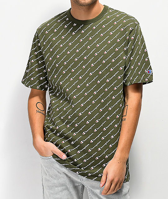 0be9140a Champion Heritage Allover Script Green T-Shirt | Zumiez