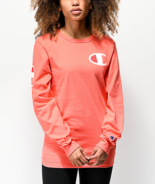 46584d67 Champion Heritage Big C Groovy Papaya Long Sleeve T-Shirt | Zumiez