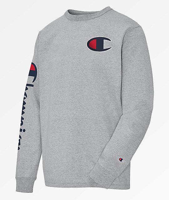 4afd09422dcb4e Champion Heritage Big C Oxford Grey Long Sleeve T-Shirt | Zumiez.ca