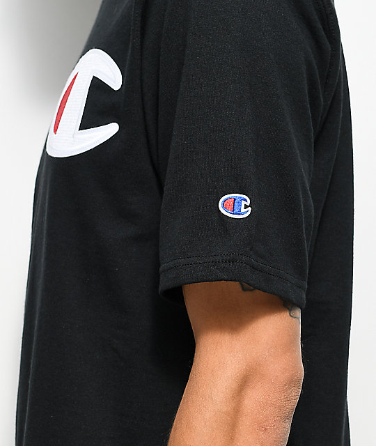 c9fb0455 Champion Heritage Big C Patch Black T-Shirt | Zumiez