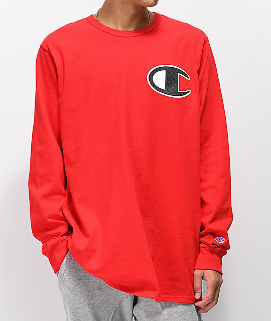 65a52629 Champion Heritage C Patch Red Long Sleeve T-Shirt | Zumiez