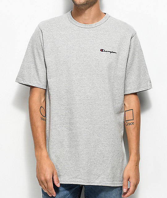 Champion Heritage Embroidered Script Grey T-Shirt