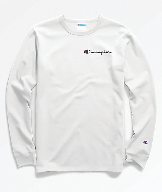 2a79eecd2 Champion Heritage Embroidered Script White Long Sleeve T-Shirt | Zumiez.ca