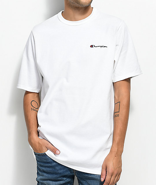 c16347944a00e Champion Heritage Embroidered Script White T-Shirt