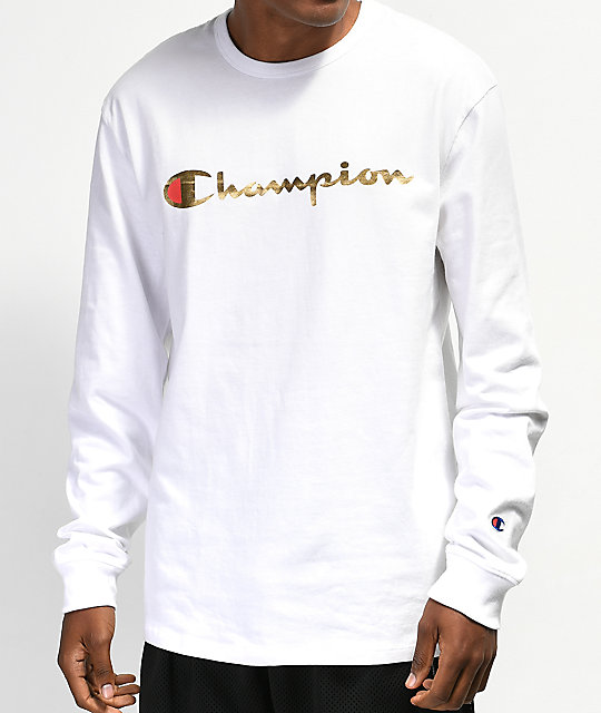 5e918afd Champion Heritage Gold & White Long Sleeve T-Shirt | Zumiez