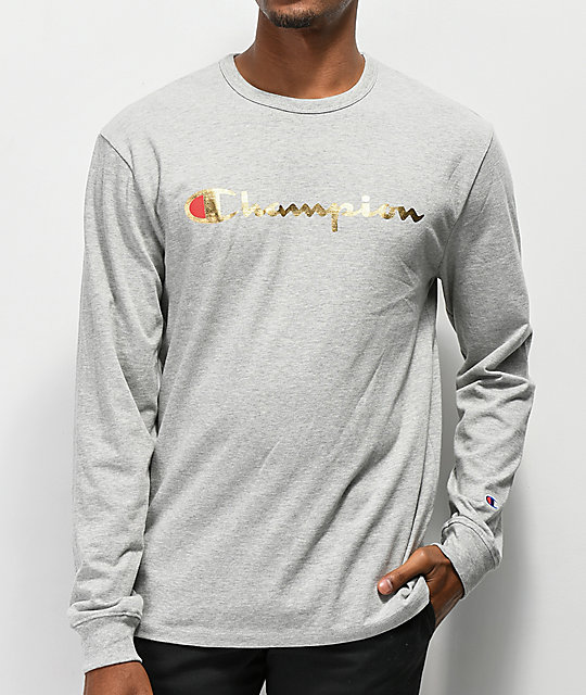 7cdd7a38 Champion Heritage Gold Grey Long Sleeve T-Shirt | Zumiez