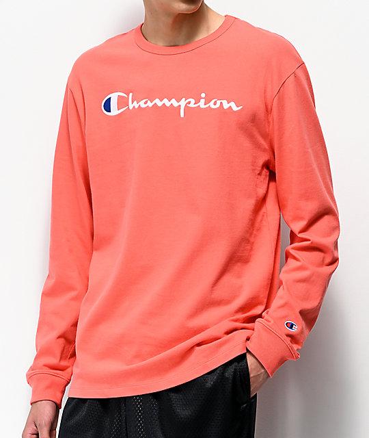 7dfa94ed9 Champion Heritage Groovy Papaya Long Sleeve T-Shirt | Zumiez