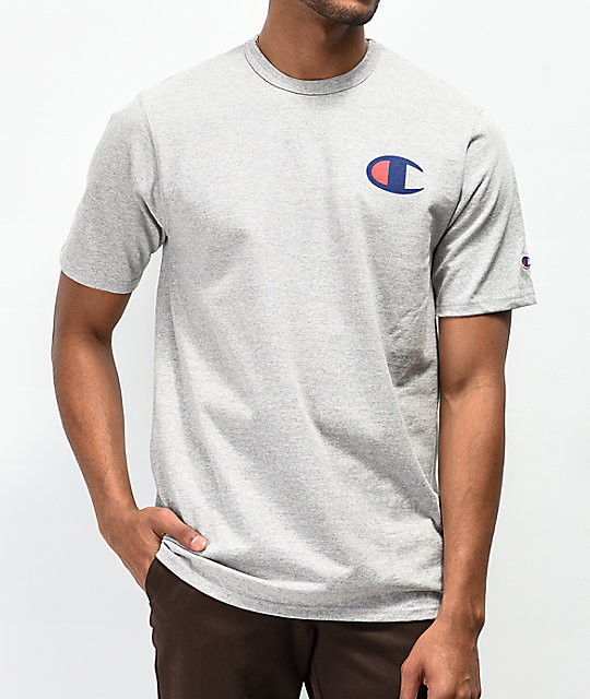 e614e620a Champion Heritage Patriotic Navy C Oxford Grey T-Shirt | Zumiez