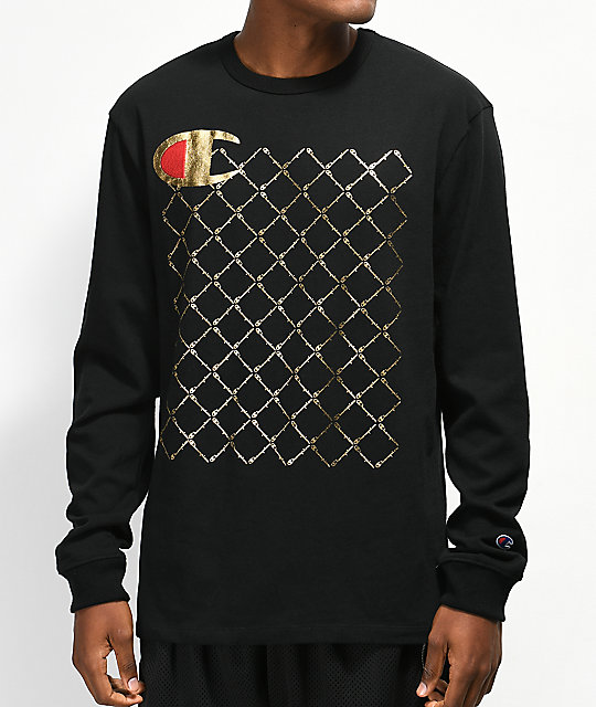 ac1d2b73c5 Champion Heritage Quilt Black Long Sleeve T-Shirt