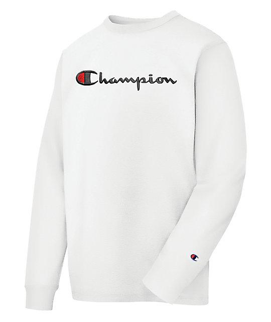 fe1a1601c6 Champion Heritage Script White Long Sleeve T-Shirt