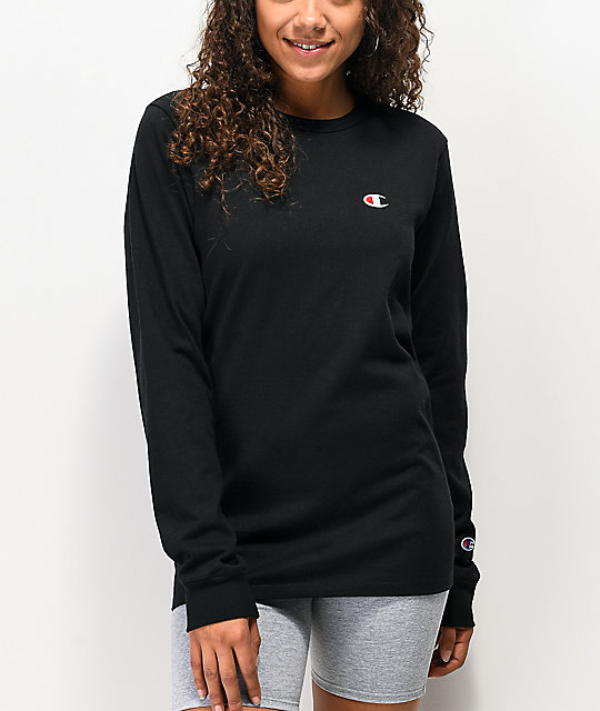 Champion Heritage Shoulder Hit Black Long Sleeve T-Shirt