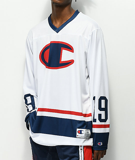 Champion Hockey White Long Sleeve Jersey  83153f5ad