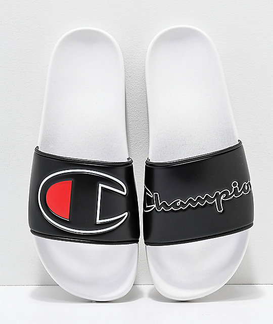 Champion IPO Black & White Slide Sandals
