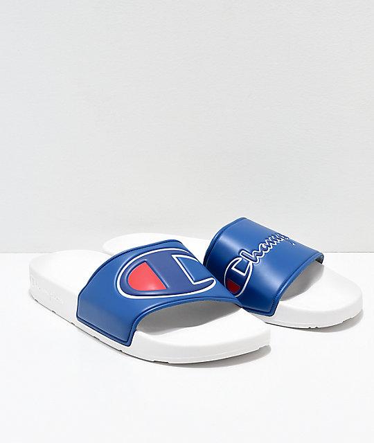 f14f61087 Champion IPO Blue   White Slide Sandals