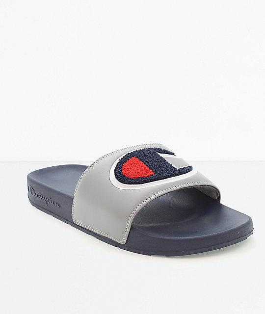 95caf167188 Champion IPO Chenille Grey   Navy Slide Sandals