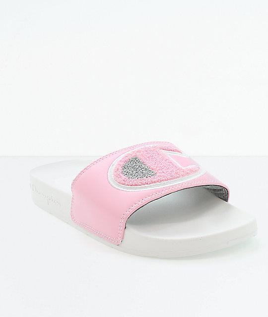 93346551789ed Champion IPO Chenille Pink   White Slide Sandals