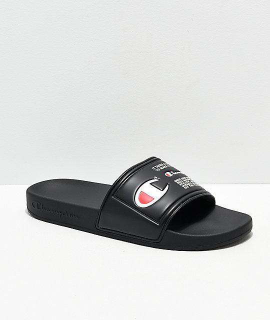 a38af781861 Champion IPO Jock Triple Black Slide Sandals