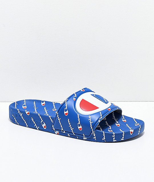 c0ee9b78306 Champion IPO Repeat Blue Slide Sandals