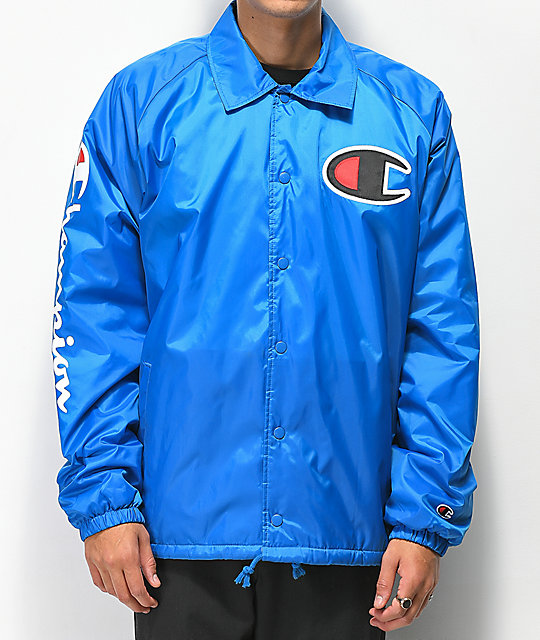 popular brand to buy united kingdom Champion Lined Blue Coaches Jacket