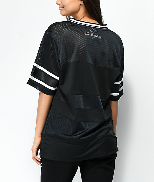 Champion Logo Black Mesh V-Neck Jersey