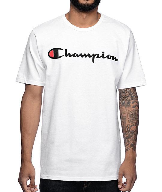 Champion Logo camiseta blanca ... 90e56a0008587
