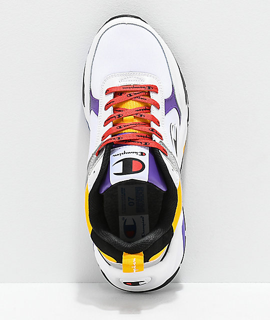 Champion Men's 93 Eighteen Big C White, Purple, Yellow & Black Shoes