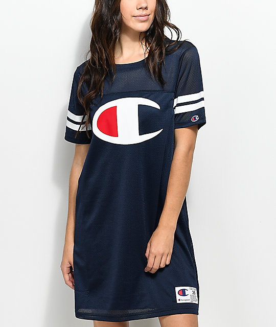 d4c9d0e333487f Champion Navy Mesh Jersey Dress