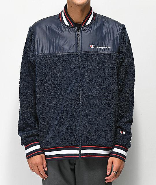 Champion Navy Sherpa Baseball Jacket | Zumiez