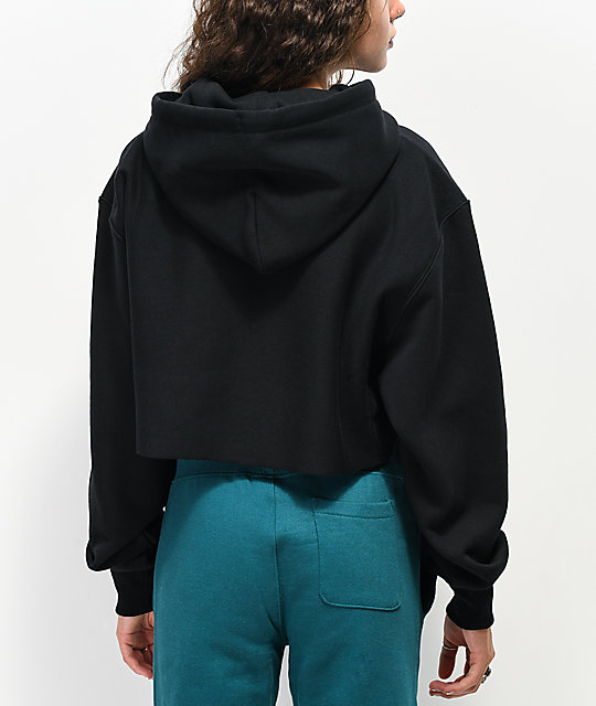 Champion Old English Reverse Weave Black Crop Hoodie